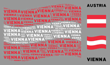 Waving Austria official flag. Vector Vienna text design elements are grouped into geometric Austria flag collage. Patriotic concept composed of flat Vienna text design elements.