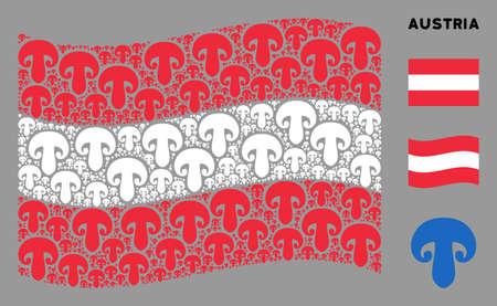 Waving Austria flag. Vector champignon mushroom design elements are scattered into geometric Austria flag illustration. Patriotic collage created of flat champignon mushroom elements.