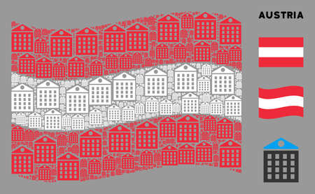 Waving Austrian official flag. Vector apartment house design elements are scattered into conceptual Austria flag composition. Patriotic illustration created of flat apartment house design elements. Çizim
