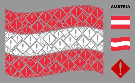 Waving Austrian official flag. Vector problem items are combined into geometric Austrian flag illustration. Patriotic illustration designed of flat problem pictograms. Çizim