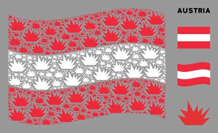 Waving Austria official flag. Vector boom explosion design elements are scattered into mosaic Austria flag composition. Patriotic concept composed of flat boom explosion design elements.