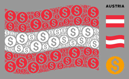 Waving Austria flag. Vector dollar coin icons are organized into geometric Austria flag collage. Patriotic composition designed of flat dollar coin icons. 写真素材 - 132124722
