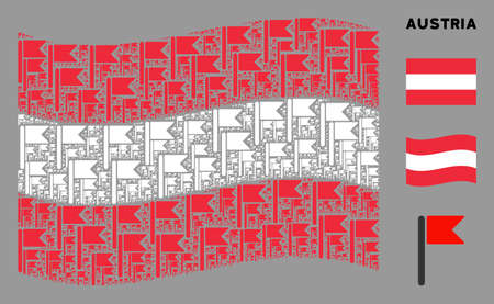 Waving Austrian flag. Vector flag design elements are united into geometric Austrian flag composition. Patriotic collage constructed of flat flag design elements.