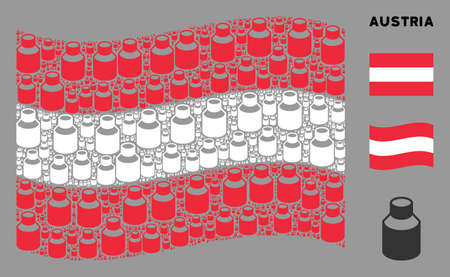 Waving Austrian flag. Vector vial elements are organized into conceptual Austrian flag illustration. Patriotic illustration done of flat vial design elements.