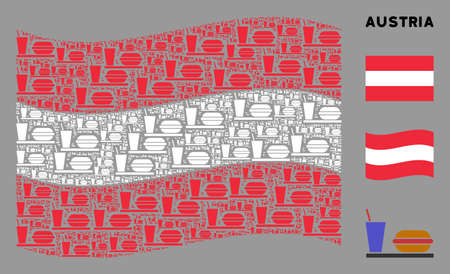 Waving Austrian state flag. Vector fastfood icons are placed into conceptual Austrian flag collage. Patriotic collage designed of flat fastfood pictograms.
