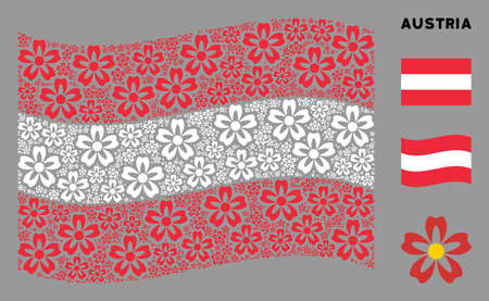 Waving Austrian flag. Vector flower design elements are scattered into conceptual Austria flag composition. Patriotic concept composed of flat flower design elements. Imagens - 132123594