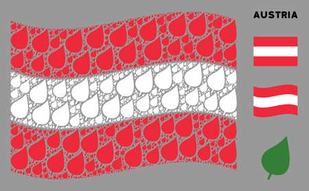 Waving Austria state flag. Vector plant leaf design elements are formed into mosaic Austria flag illustration. Patriotic illustration organized of flat plant leaf icons. Imagens - 132123956