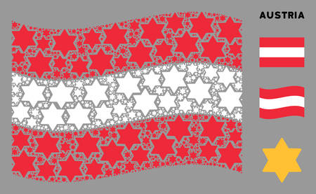 Waving Austria official flag. Vector six pointed star design elements are placed into conceptual Austrian flag illustration. Patriotic illustration composed of flat six pointed star design elements.