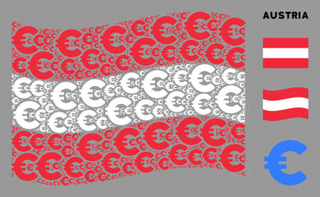 Waving Austrian official flag. Vector Euro elements are organized into geometric Austria flag composition. Patriotic composition organized of flat Euro pictograms. Stok Fotoğraf - 132123848