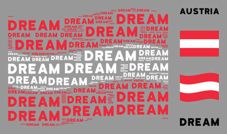 Waving Austria flag. Vector dream texts are grouped into conceptual Austria flag composition. Patriotic composition composed of flat dream texts. Illusztráció