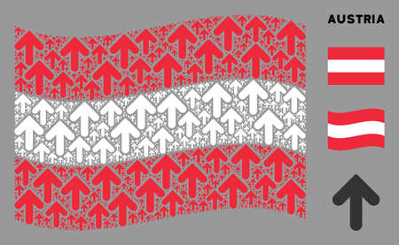 Waving Austrian flag. Vector arrow direction design elements are united into mosaic Austrian flag abstraction. Patriotic illustration composed of flat arrow direction design elements.