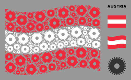 Waving Austrian flag. Vector cogwheel design elements are organized into mosaic Austria flag abstraction. Patriotic collage organized of flat cogwheel elements. Иллюстрация