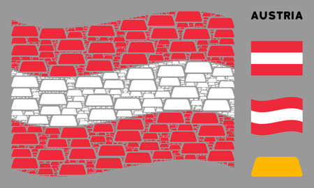 Waving Austria state flag. Vector treasure brick pictograms are grouped into geometric Austrian flag composition. Patriotic composition composed of flat treasure brick pictograms.