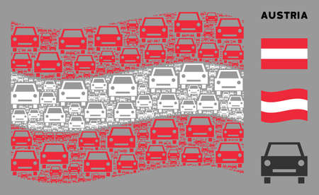 Waving Austrian state flag. Vector car elements are scattered into geometric Austrian flag composition. Patriotic composition composed of flat car elements. Çizim