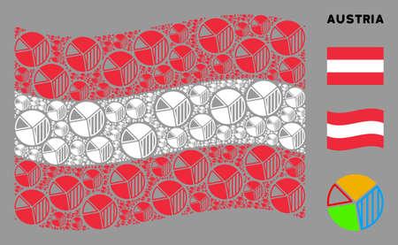オーストリア国旗を振るベクトル円グラフのアイコンは、モザイクオーストリアのフラグの組成に形成されます。愛国的な構成は、フラット円グラフのアイコンを組み合わせたものです。 写真素材 - 132124109