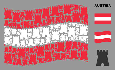 Waving Austrian flag. Vector bulwark tower design elements are scattered into mosaic Austria flag composition. Patriotic collage done of flat bulwark tower design elements.