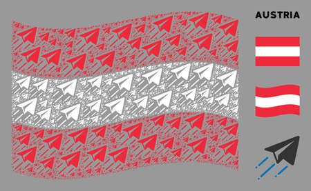 Waving Austria flag. Vector freelance flight elements are grouped into conceptual Austria flag abstraction. Patriotic concept constructed of flat freelance flight elements.