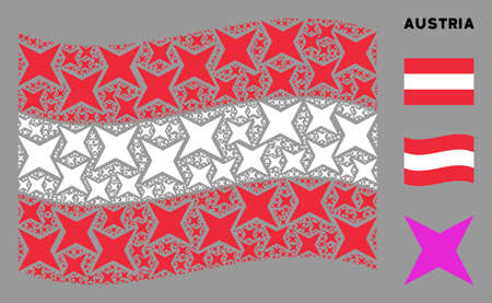 Waving Austrian state flag. Vector sparkle star elements are scattered into mosaic Austrian flag illustration. Patriotic collage composed of flat sparkle star elements.