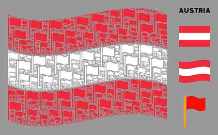 Waving Austria state flag. Vector waving flag design elements are united into geometric Austrian flag illustration. Patriotic illustration done of flat waving flag design elements. 일러스트