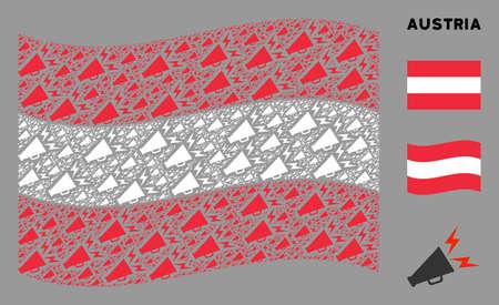 Waving Austria state flag. Vector alert megaphone design elements are organized into geometric Austria flag abstraction. Patriotic concept organized of flat alert megaphone elements. 일러스트