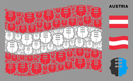 Waving Austrian state flag. Vector dual head interface design elements are organized into mosaic Austrian flag composition. Patriotic composition combined of flat dual head interface design elements.