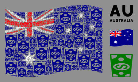 Waving Australia state flag. Vector dollar banknote design elements are united into geometric Australia flag abstraction. Patriotic collage designed of flat dollar banknote design elements.