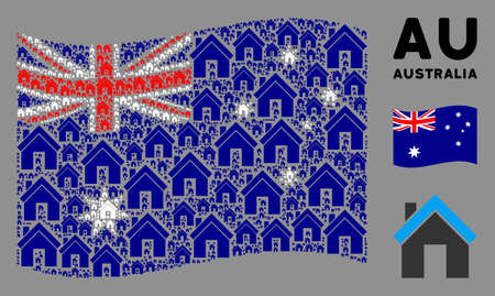 Waving Australia flag. Vector home design elements are placed into mosaic Australia flag collage. Patriotic collage combined of flat home icons.