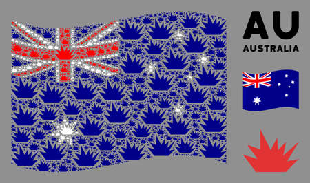 Waving Australia state flag. Vector boom explosion pictograms are organized into mosaic Australia flag collage. Patriotic collage done of flat boom explosion icons. Ilustrace