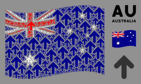Waving Australia official flag. Vector arrow up design elements are placed into conceptual Australia flag collage. Patriotic composition constructed of flat arrow up design elements.