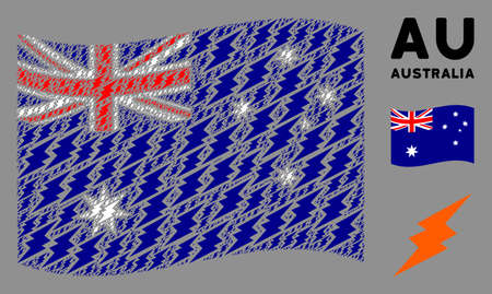 Waving Australia flag. Vector electric spark icons are placed into mosaic Australia flag collage. Patriotic composition organized of flat electric spark icons.