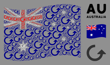 Waving Australia state flag. Vector rotate pictograms are formed into conceptual Australia flag composition. Patriotic composition constructed of flat rotate pictograms.