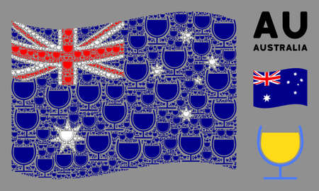 Waving Australia official flag. Vector wine glass elements are placed into mosaic Australia flag collage. Patriotic collage done of flat wine glass pictograms. Иллюстрация