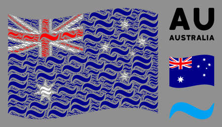 Waving Australia official flag. Vector water wave elements are combined into conceptual Australia flag illustration. Patriotic collage combined of flat water wave elements.