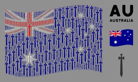 Waving Australia flag. Vector medieval sword design elements are united into geometric Australia flag composition. Patriotic illustration composed of flat medieval sword design elements.