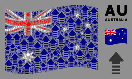 Waving Australia official flag. Vector arrow pointer design elements are formed into geometric Australia flag composition. Patriotic concept constructed of flat arrow pointer elements. Banco de Imagens - 132164695