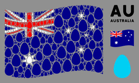 Waving Australia flag. Vector egg pictograms are organized into mosaic Australia flag composition. Patriotic composition combined of flat egg pictograms.