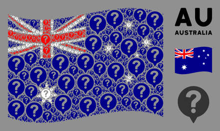 Waving Australia flag. Vector help balloon design elements are grouped into mosaic Australia flag abstraction. Patriotic illustration combined of flat help balloon design elements. Illusztráció