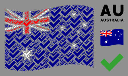 Waving Australia state flag. Vector yes icons are scattered into geometric Australia flag collage. Patriotic collage done of flat yes design elements.