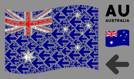Waving Australia flag. Vector arrow left pictograms are grouped into conceptual Australia flag composition. Patriotic composition done of flat arrow left pictograms. Banco de Imagens - 132152209
