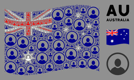 Waving Australia flag. Vector rounded user portrait elements are grouped into geometric Australia flag collage. Patriotic collage constructed of flat rounded user portrait design elements.