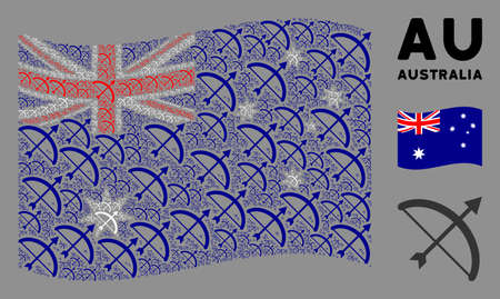 Waving Australia flag. Vector archery bow elements are placed into conceptual Australia flag illustration. Patriotic illustration combined of flat archery bow design elements.