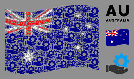 Waving Australia state flag. Vector mechanic gear service hand design elements are grouped into mosaic Australia flag illustration. Illustration