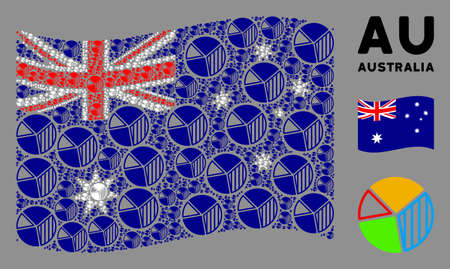 Waving Australia flag. Vector pie chart pictograms are united into mosaic Australia flag illustration. Patriotic illustration combined of flat pie chart pictograms.