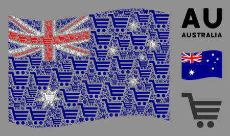 Waving Australia state flag. Vector shopping cart icons are united into conceptual Australia flag collage. Patriotic collage created of flat shopping cart pictograms. Illustration