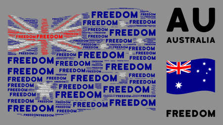 Waving Australia flag. Vector freedom text design elements are placed into mosaic Australia flag collage. Patriotic concept designed of flat freedom text design elements. Illustration