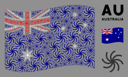 Waving Australia official flag. Vector galaxy design elements are arranged into conceptual Australia flag composition. Patriotic composition constructed of flat galaxy design elements. Illusztráció