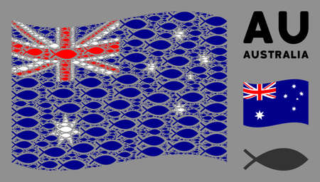 Waving Australia flag. Vector fish elements are combined into geometric Australia flag collage. Patriotic collage combined of flat fish icons.