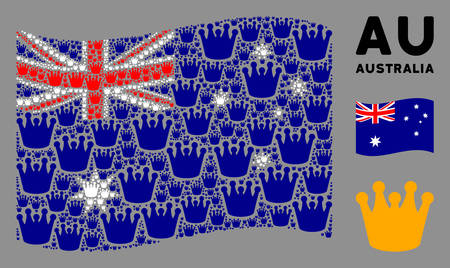 Waving Australia flag. Vector royal design elements are formed into geometric Australia flag collage. Patriotic collage constructed of flat royal design elements. Illustration