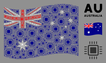 Waving Australia flag. Vector processor icons are formed into mosaic Australia flag collage. Patriotic illustration done of flat processor icons.