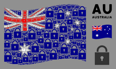 Waving Australia state flag. Vector lock design elements are formed into conceptual Australia flag illustration. Patriotic concept organized of flat lock design elements. Stock Illustratie